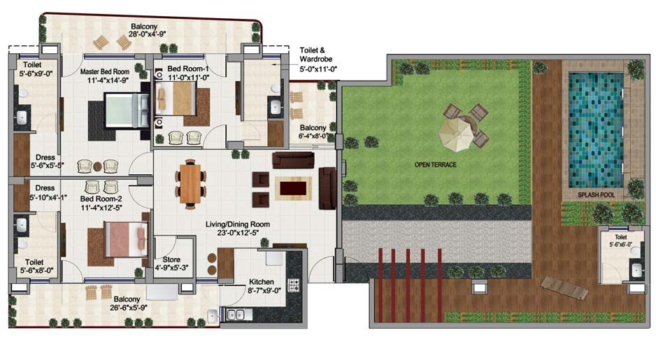 3 bhk penthouse in Zirakpur floor plan