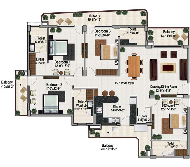4 bhk apartment in zirakpur floor plan