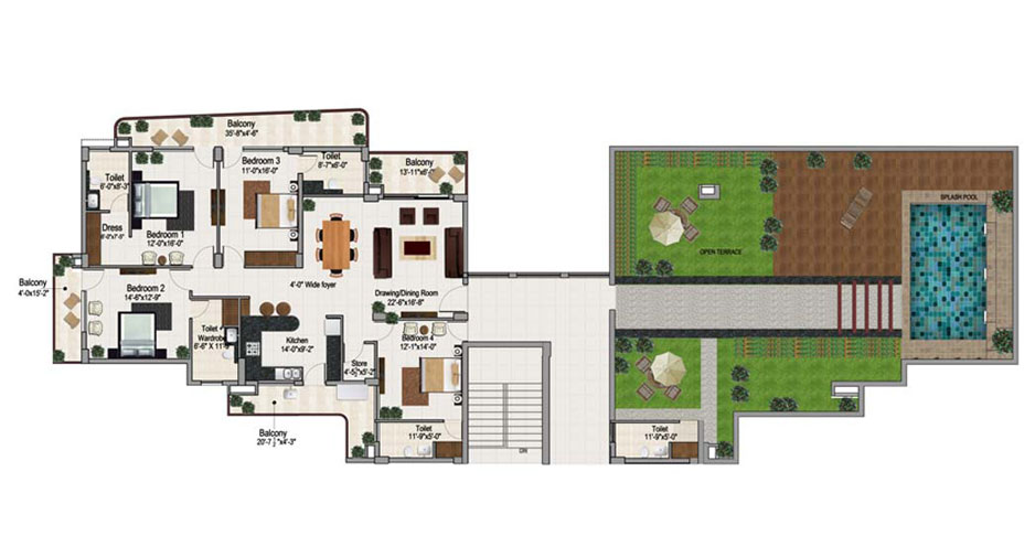 4 bhk penthouse in zirakpur floor plan